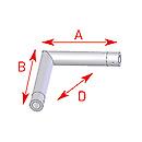 ASD57EX5022 / Angle 2 départs horizontal 90° - longueur 0,25 x 0,25 m