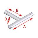 ASD57EX5033 / Angle 3 départs horizontal  90°  - longueur 0,45 x 0,25 m