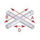 ASD57EX5041 / Angle 4 départs horizontal 90°  - longueur 0,45 x 0,45 m