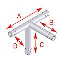 ASD57EX5042 / Angle 4 départs pied 90°  - longueur 0,45 x 0,45 x 0,25 m