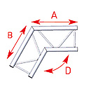 ASD57AEX24 / Angle 2 départs 120°  lg 0m50 x 0m50