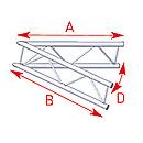 ASD57AEX20V / Angle 2 départs 45°  lg 1m00 x 1m00