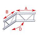 ASD57AEX25V / Angle 2 départs 135°  lg 0m50 x 0m50