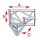 ASD57ASD1522 / Angle 2 départs 90° horizontal  lg 0m25 x 0m25