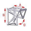 ASD57ASD1523 / Angle 2 départs 90° vertical  lg 0m25 x 0m25