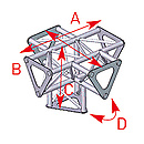 ASD57ASD1551 / Angle vertical 5 départs 90° pied lg 0m25 x 0m35 x 0m35