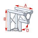 ASD57ASD23 / Angle 2 départs vertical 90°  lg 0m40 x 0m40