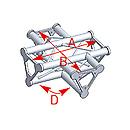 ASD57ASD41 / Angle 4 départs  à plat 90° lg 0m55 x 0m55