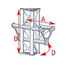 ASD57ASD44 / Angle 4 départs 90° pied lg 0m55 x 0m575