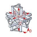 ASD57ASD61 / Angle 6 départs 90° pied  lg 0m55 x 0m55 x 0m575