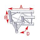 ASD57ASX22 / Angle 2 départs horizontal 90°  lg 0m50 x 0m50