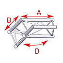 ASD57ASX24 / Angle 2 départs 120°  lg 0m50 x 0m50