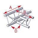 ASD57ASX33 / Angle 3 départs à plat 90° lg 0m50 x 0m71