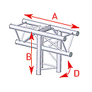 ASD57ASX34 / Angle 3 départs 90° vertical lg 0m50 x 0m71