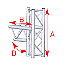 ASD57ASX35 / Angle médian 3 départs 90° lg 0m50 x 0m74