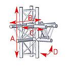 ASD57ASX52FC / Angle 5 départs 90° pied lg 0m745 x 0m50 x 0m71