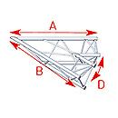 ASD57ASX4020 / Angle 2 départs 45°  lg 1m20 x 1m20