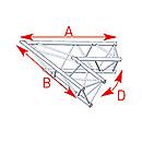 ASD57ASX4021 / Angle 2 départs 60°  lg 1m20 x 1m20