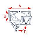 ASD57ASX4022 / Angle 2 départs horizontal 90°  lg 0m60 x 0m60