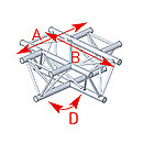 ASD57ASX4041 / Angle 4 départs 90° à plat lg 0m81 x 0m81