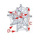 ASD57ASX4052 / Angle 5 départs 90° pied lg 0m81 x 0m858 x 0m60
