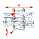 ASD57ASZ41 / Angle 4 départs 90° à plat lg 0m71 x 0m71