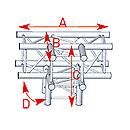 ASD57ASZ42 / Angle 4 départs 90° pied lg 0m50 x 0m50 x 0m71