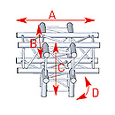 ASD57ASZ51 / Angle 5 départs 90° pied lg 0m50 x 0m71 x0m71