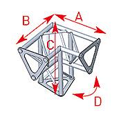 ASD57ASD153 / Angle 3 départs 90° pied lg 0m25 x 0m25