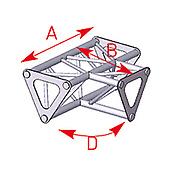 ASD57ASD1533 / Angle 3 départs 90°  à plat lg 0m25 x 0m25 x 0m35
