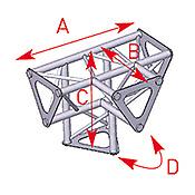 ASD57ASD1542 / Angle vertical 4 départs 90° pied lg 0m25 x 0m25 x 0m35