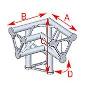 ASD57ASD31 / Angle vertical 3 départs pied droit 90° lg 0m40 x 0m40 x 0m40