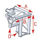ASD57ASD32 / Angle vertical 3 départs pied gauche 90° lg 0m40 x 0m40 x 0m40