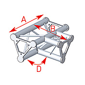 ASD57ASD33 / Angle 3 départs à plat 90° lg 0m40 x 0m55