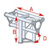 ASD57ASD34 / Angle 3 départs 90° vertical  lg 0m40 x 0m55