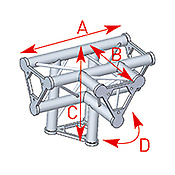 ASD57ASD42 / Angle 4 départs 90° pied lg 0m40 x 0m40 x 0m55