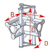 ASD57ASD45 / Angle 4 départs 90° pied lg 0m40 x 0m40 x 0m575