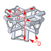 ASD57ASD51 / Angle 5 départs 90°pied lg 0m40 x 0m55 x 0m55
