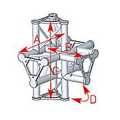 ASD57ASD52 / Angle 5 départs 90° pied lg 0m55 x 0m40 x 0m575