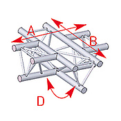 ASD57ASX41 / Angle à plat 4 départs 90° lg 0m71 x 0m71