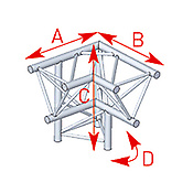 ASD57ASX4031 / Angle 3 départs 90° pied gauche lg 0m60 x 0m60