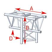 ASD57ASX4034 / Angle vertical 3 départs 90° pied lg 0m81 x 0m60