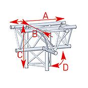 ASD57ASX4042 / Angle 4 départs 90° pied lg 0m81 x 0m60