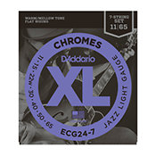 D'Addario ECG24-7 Chromes Flat Wound Jazz Light 11-65