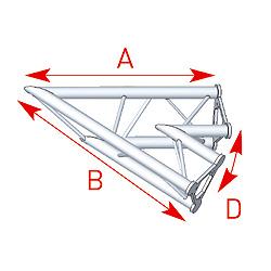 57ASD20 / Angle 2 départs 45°  lg 0m80 x 0m80