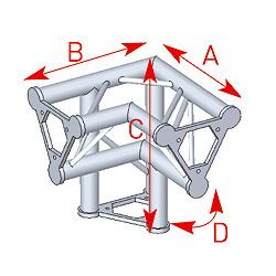 57ASD31 / Angle vertical 3 départs pied droit 90° lg 0m40 x 0m40 x 0m40
