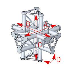 57ASD61 / Angle 6 départs 90° pied  lg 0m55 x 0m55 x 0m575