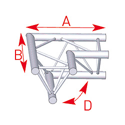 57ASX22 / Angle 2 départs horizontal 90°  lg 0m50 x 0m50