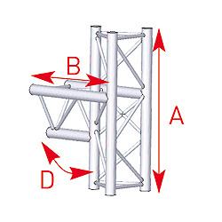 57ASX35 / Angle médian 3 départs 90° lg 0m50 x 0m74