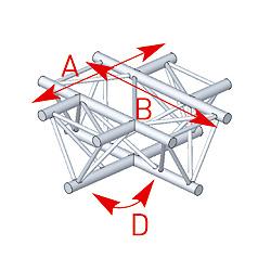 57ASX4041 / Angle 4 départs 90° à plat lg 0m81 x 0m81
